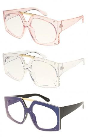 Square Fashion Womens Designer Clear Lens Wholesale Sunglasses
