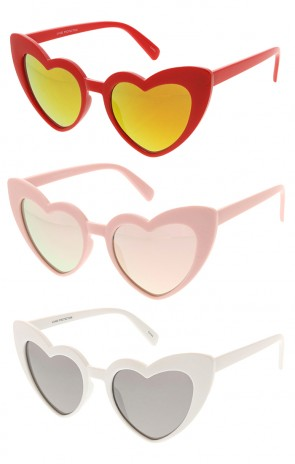 780977715b Womens Cat Eye Heart Shape Mirrored Lens Wholesale Sunglasses