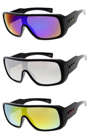 0981bd33ad9d Men s KUSH Flat Top Goggle Mirrored Shield Lens Wide Arm Wholesale  Sunglasses