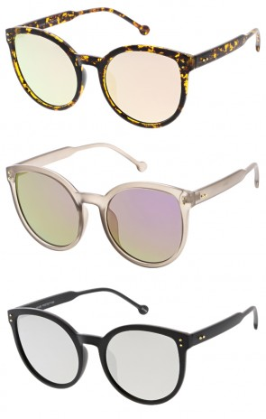 Oversize Women's Mirrored Flat Lens Cat Eye Wholesale Sunglasses