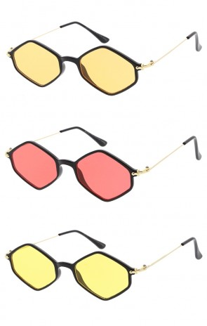 Thin Hexagon Wire Frame Colors Lens Wholesale Sunglasses