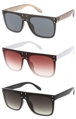 Large Retro Studded Flat Top Wholesale Sunglasses