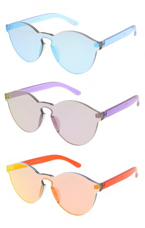 Mono Block Rimless Mirror Lens Wholesale Sunglasses