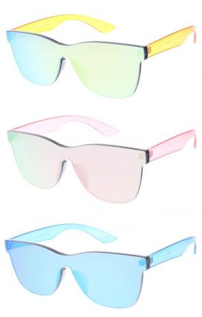Retro Modern Rimless Mono Block Wholesale Sunglasses