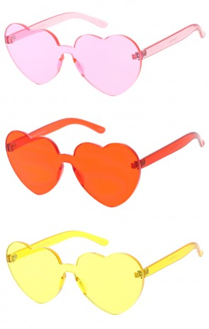 One Piece Lens Rimless Ultra Bold Colorful Mono Block Heart Shaped Wholesale Sunglasses