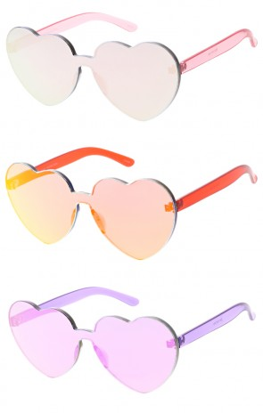 One Piece Lens Rimless Ultra Bold Reflective Mono Block Heart Shaped Wholesale Sunglasses