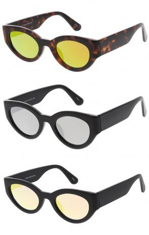 Fashion Wrap Around Cat Eye Mirror Lens Wholesale Sunglasses