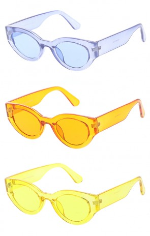 Womens Retro Transparent Color Flat Lens Cat Eye Wholesale Sunglasses