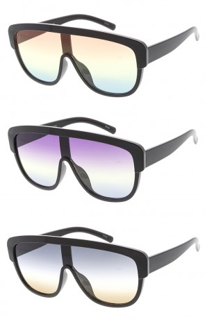 Oversized Rounded Flat Top Mono Lens Womens Wholesale Sunglasses
