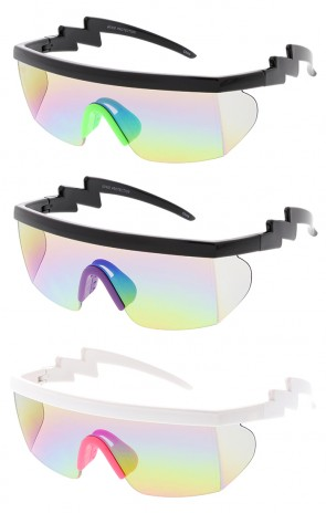 Oversized Mono Mirror Lens Block Wrap Around Arm Lightning Wholesale Sunglasses