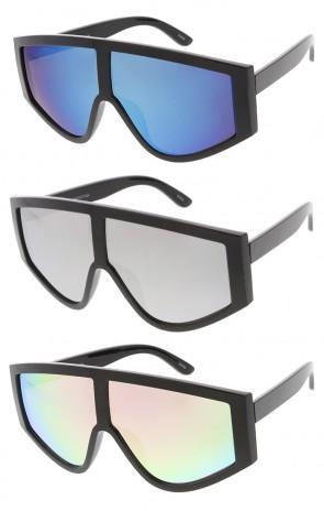 Oversized Retro Plastic Mirror Lens Womens Wholesale Sunglasses