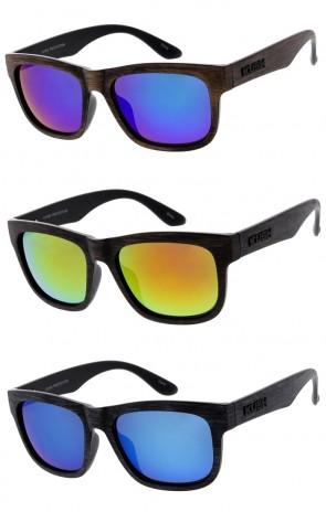 Men's KUSH Faux Wood Horn Rimmed Square Mirrored Lens Wholesale Sunglasses