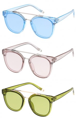 Oversized Horned Rim Solid Color Lens Wholesale Sunglasses