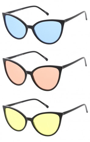 Retro Thin Frame Cat Eye Color Lens Wholesale Sunglasses