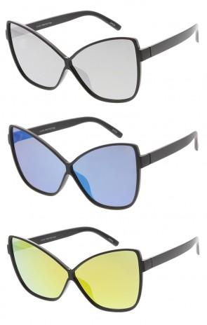 Oversized Butterfly Cat eye Mirror Lens Womens Wholesale Sunglasses