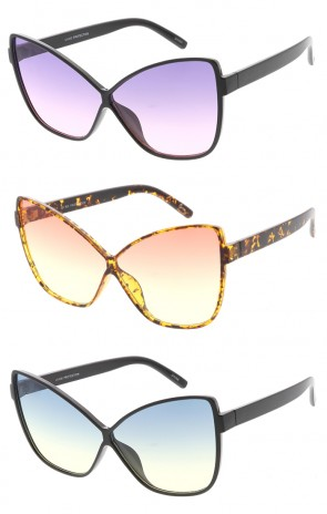 Oversized Butterfly Cat eye Color Lens Womens Wholesale Sunglasses