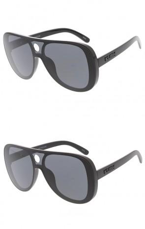 KUSH Large Retro Aviator Shooter One Piece Lens Wholesale Sunglasses