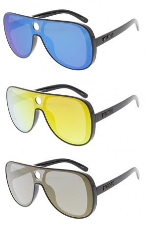 KUSH Large Retro Aviator Shooter One Piece Mirror Lens Wholesale Sunglasses