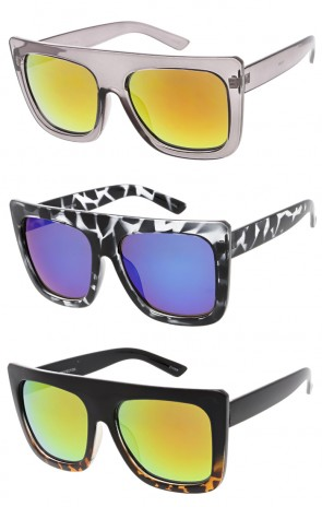 Modern Flat Top Mirror Lens Square Wholesale Sunglasses