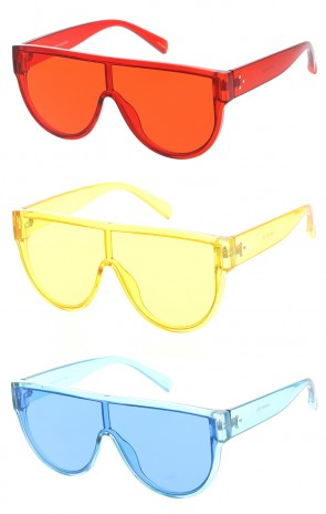 Retro Oversized One Piece Mono Color Lens Wholesale Sunglasses
