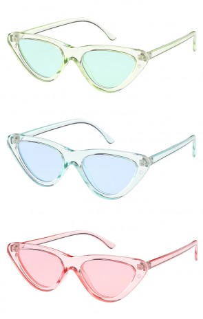 Women's Retro 1990's Narrow Flat Color Tone Lens Cat Eye Wholesale Sunglasses