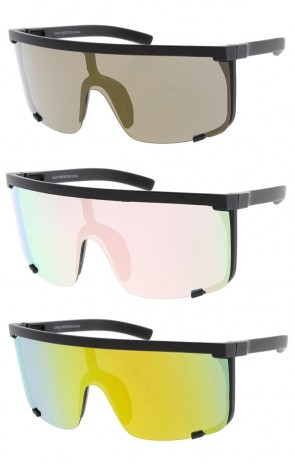 Oversized Fashion Half Shield Mirror Lens Womens Wholesale Sunglasses