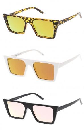 Retro Square Flat Top Cat Eye Mirrored Lens Wholesale Sunglasses