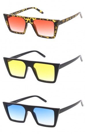 Retro Square Flat Top Cat Eye Color Lens Wholesale Sunglasses