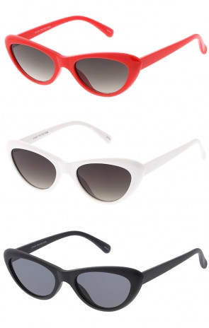 Women's Small Thick Cat Eye Tinted Flat Lens Wholesale Sunglasses