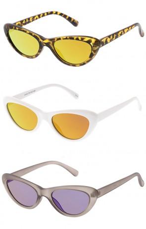 Women's Small Thick Cat Eye Revo Flat Lens Wholesale Sunglasses