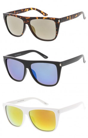 Horn Rimmed Flat Top Mirror Lens Wholesale Sunglasses