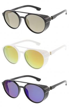 Side Cover Steampunk Retro Fashion Wholesale Sunglasses - Mirrored