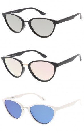 Mid Sized Cat Eye Retro Style Wholesale Sunglasses - Color Lens