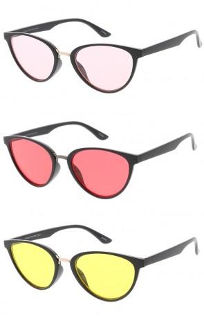 Horn Rimmed One Piece Color Lens Wholesale Sunglasses