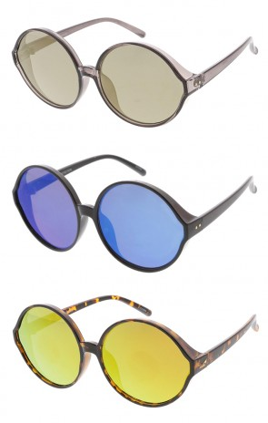Oversized Retro Round Mirror Lens Wholesale Womens Sunglasses