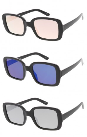 Chunky Plastic Rectangle Mirror Lens Womens Wholesale Sunglasses