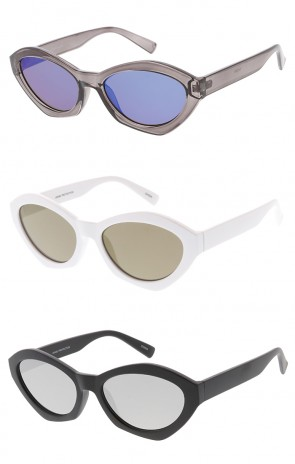 Thick Oval Cat eye Mirror Lens Wholesale Womens Sunglasses