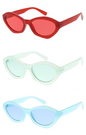 Thick Oval Cat eye Color Lens Wholesale Womens Sunglasses
