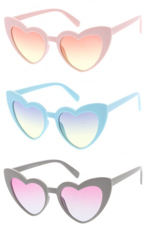 Plastic Heart Gradient Lens Womens Wholesale Sunglasses