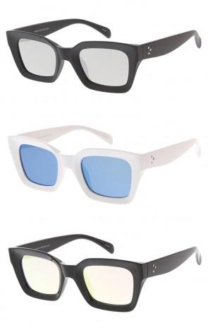 Chunky Framed Horn Rimmed Mirror Lens Wholesale Womens Sunglasses