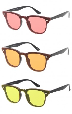 Club Style Horn Rimmed Wholesale Sunglasses with Rivets