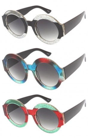Designer Round Glitter Frame Womens Wholesale Sunglasses