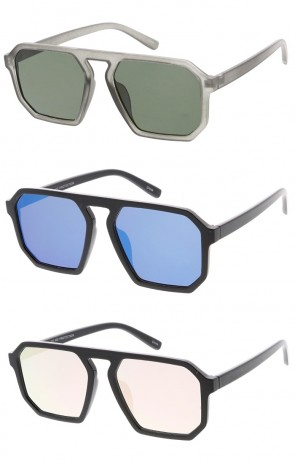 Flat Top Square Plastic Aviator  Wholesale Sunglasses