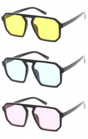 Flat Top Square Plastic Aviator Color Lens Wholesale Sunglasses