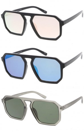Oversized Flat Top Square Plastic Aviator  Wholesale Sunglasses