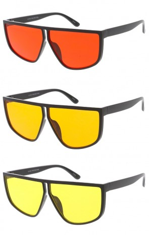 Oversized Flat Top Color Lens Wholesale Sunglasses