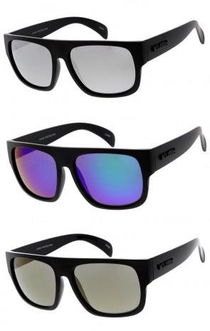 7de1c09c057 Men s KUSH Flat Top Horn Rimmed Mirrored Lens Wide Arm Wholesale Sunglasses