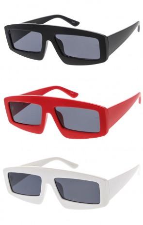 Chunky Rectangle Frame Smoke  Lens Wholesale Sunglasses