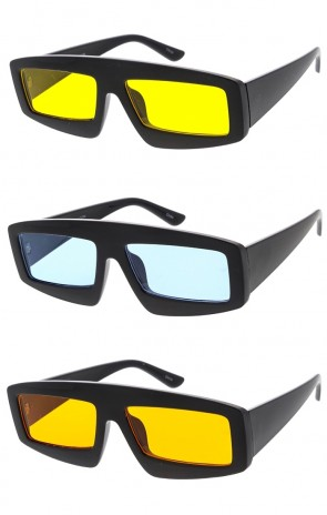 Chunky Rectangle Frame Color Lens Wholesale Sunglasses