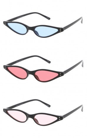 Womens Retro 1990's Thin Cat Eye Dual Rivet Wholesale Sunglasses